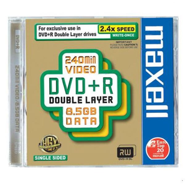 DVD+R8,5G MAXELL Dual Layer sebesség 2,4x-8x, kétrétegű, 12cm átmérő