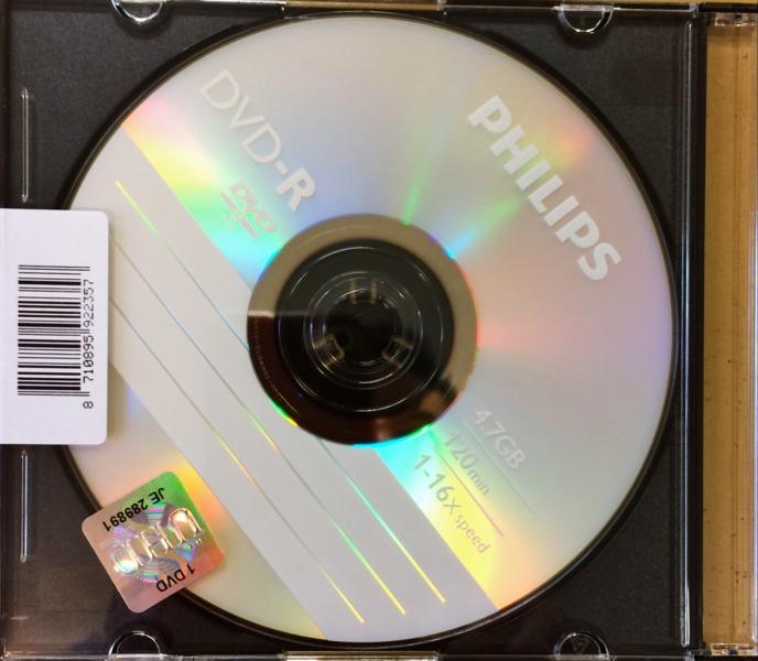 DVD-R4.7GB PHILIPS 16x, gyártott, vékonytokos