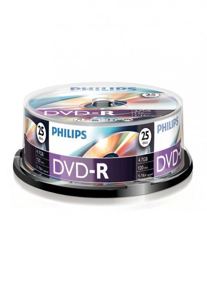 DVD-R4.7GB PHILIPS 16x, 25 db-os, hengeres