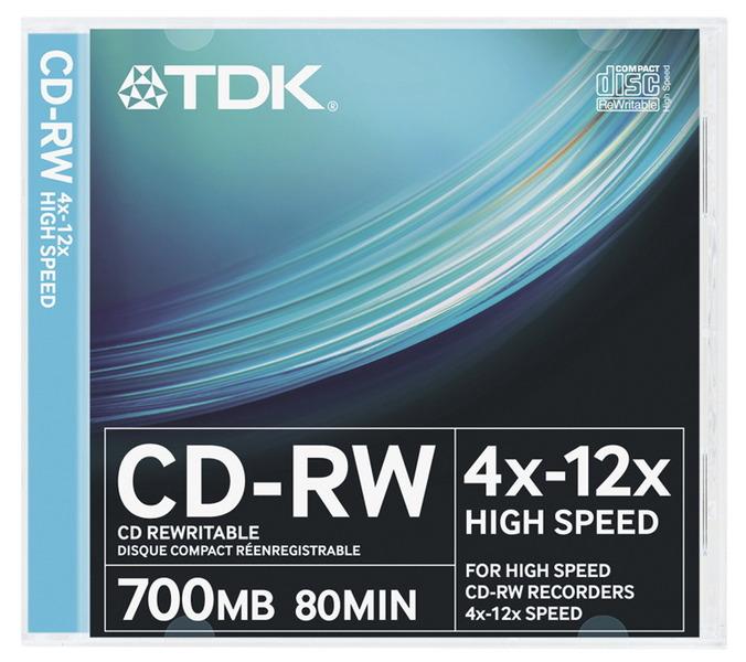 CD-RW80 TDK 12x, 10 db-os, normál tokos, újraírható