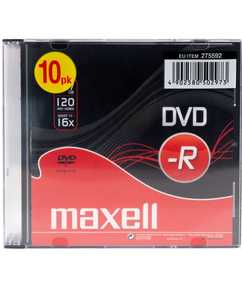 DVD-R4.7Gb MAXELL 16x, 10 db, vékony tokos