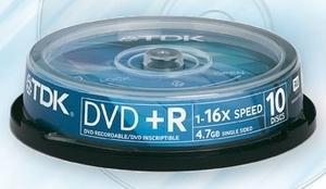 DVD+R4.7 TDK 16x, hengeres egyszer irható DVD, 10 db-os