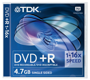DVD+R4.7 TDK 16x, tokos, vastagtokban