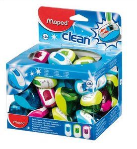 Hegyező 1 lyukú, MAPED Clean, tartályos, műanyag, vegyes színek