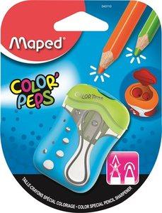 Hegyező 2 lyukú, MAPED Color` Peps, tartályos, tompára hegyező, vegyes