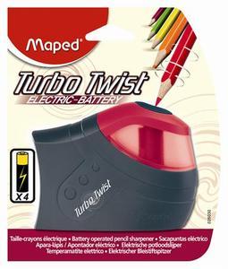 Hegyezőgép, MAPED Turbo Twist, elemes, 4 db AA ceruzaelemmel működik